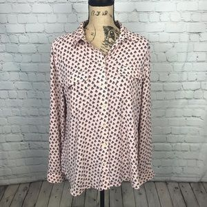 [LOFT] Pink and Navy Patterned Button Down